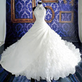 Royal Vestido De Noiva Cathedral train 2016 Ball Gown Wedding Dresses Ruffles Puffy Elegant White Lace Wedding Gown with Pearls
