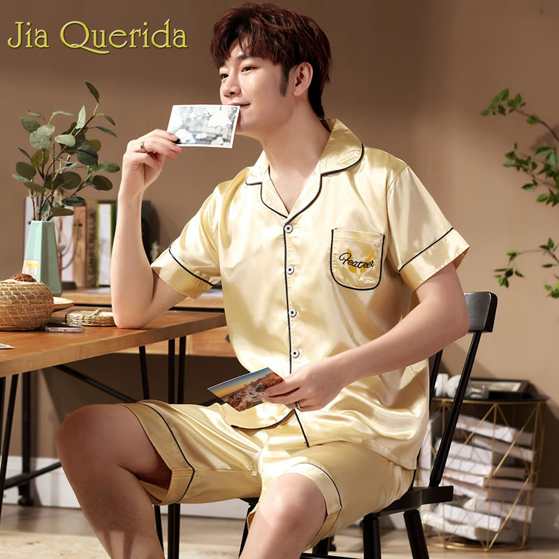 J&Q Luxury Men Home Clothing 2019 Fashion Satin Pajamas Men&Women Satin Sleepwear Letter Embroidery Lapel Short Couple Pajamas