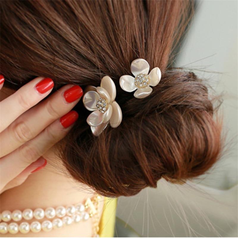 Sale Women Girls Fashion Popular Flower Tiara Rope Elastic Hairbands Rubber Band Hair Accessories