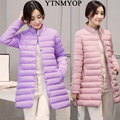 Wadded jaqueta fina de médio-longo moda casaco de inverno mulheres gola para baixo algodão-acolchoado parka meninas outerwear casuais clothing