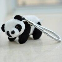 Dệt Da Panda Búp Bê Keychain Dây Móc Khóa Ví một người phụ nữ Túi Quyến Rũ Phụ Kiện Mặt Dây Chuyền Key Chains Plush Nhồi Bông Đồ Chơi Dân Tộc Quà Tặng