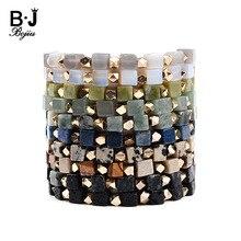 BOJIU Hot Natural Square Stone Bracelet For Women Gold-color Copper Nuggets Opal Lava Dalmation Jaspers Amazonite BC277