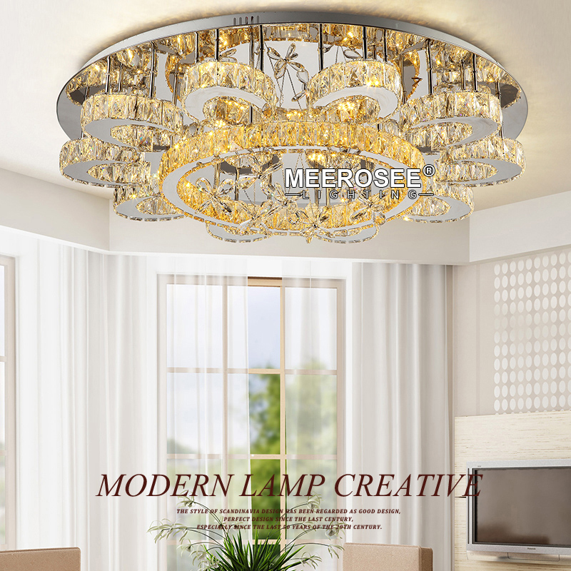 HTB1101kesj B1NjSZFHq6yDWpXa1 Luxury Flower Shape Crystal Chandeliers Lighting Fixtures Round lustres Living Room Hotel Lamp LED Light Flush Mounted