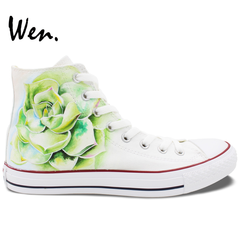 ФОТО Wen Original Hand Painted Shoes Design Custom Succulent Plant White High Top Men Women's Canvas Sneakers for Gifts