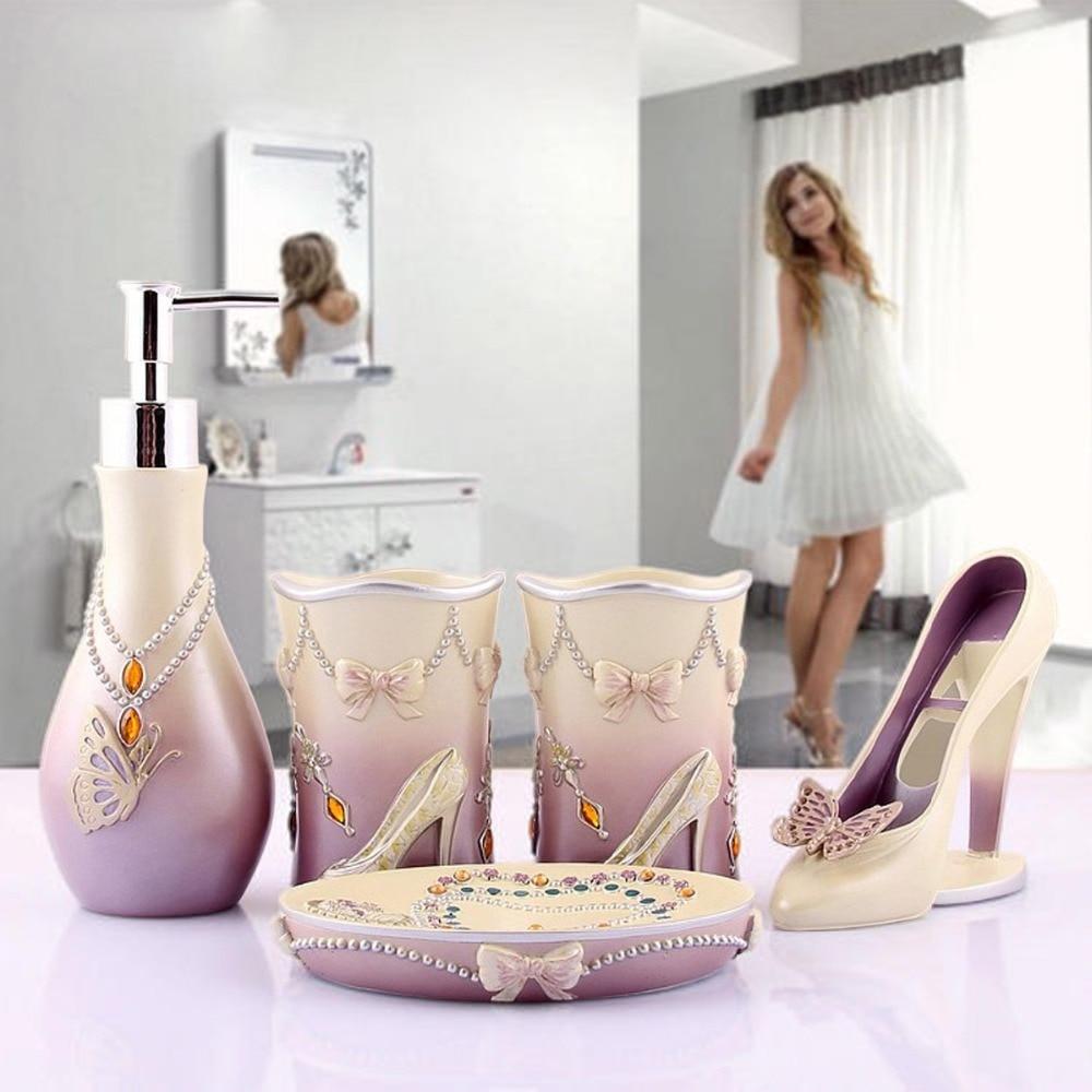 Luxury european fashion resin bathroom products accessories set high - Novelty High Heels 5pcs Bathroom Accessories Set Modern Lady Sets Soap Holder Wash Cup Wedding Decors