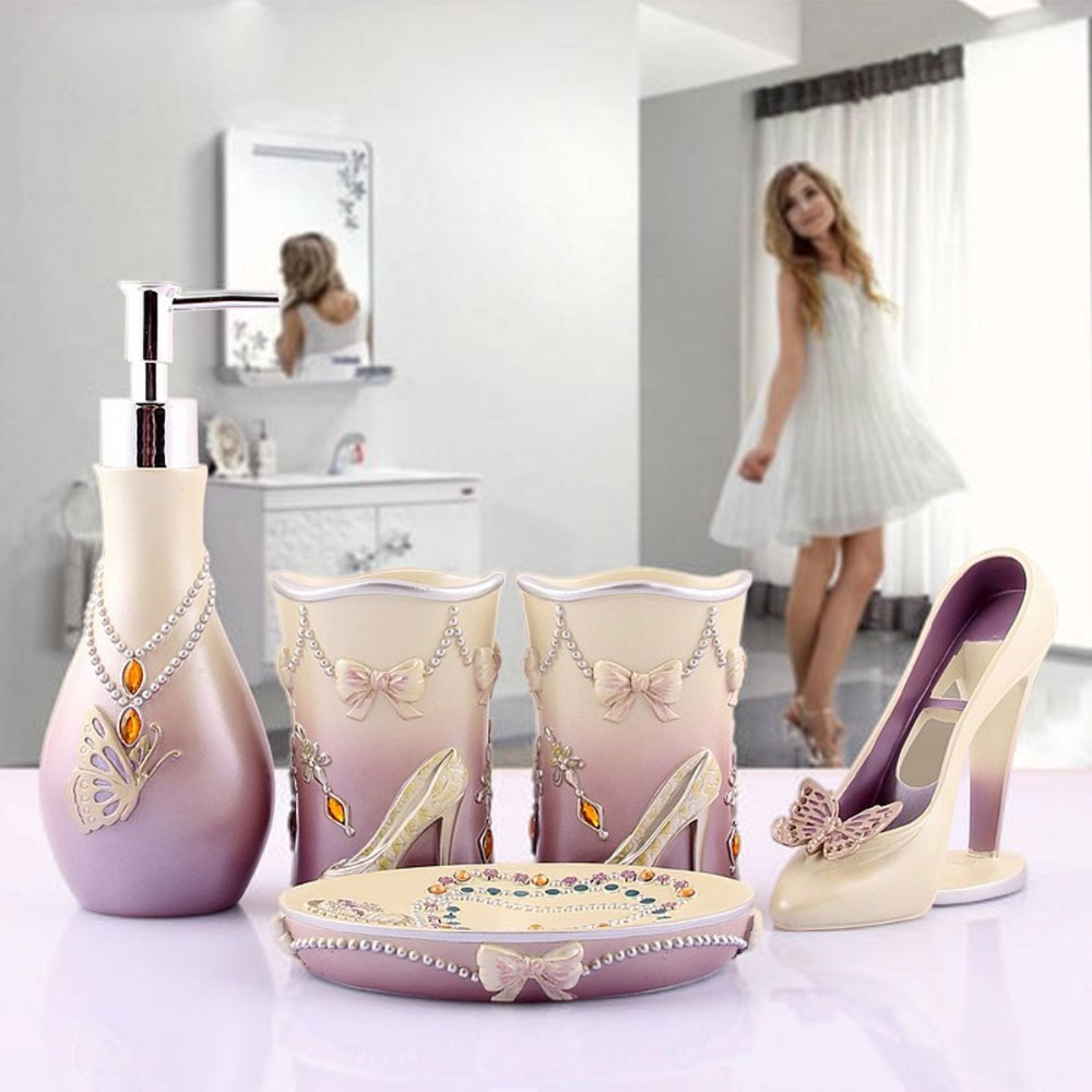 Modern bathroom decor accessories - Novelty High Heels 5pcs Bathroom Accessories Set Modern Lady Sets Soap Holder Wash Cup Wedding Decors