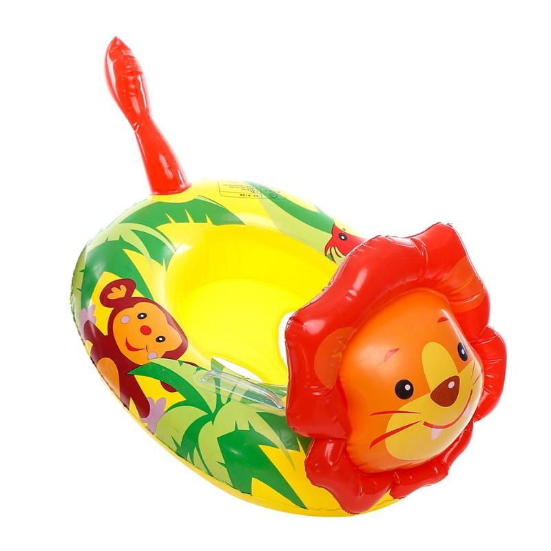 Cute Cartoon Lion Shape Baby Inflatable Floats Seat Thicken Swimming Ring for Swimming Pool Floats Accessories