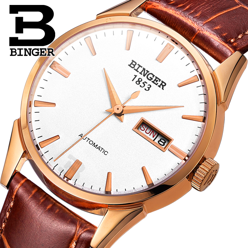 Switzerland men's watch luxury brand Wristwatches BINGER 18K gold Automatic self-wind full stainless steel waterproof  B1128-14 switzerland men s watch luxury brand wristwatches binger luminous automatic self wind full stainless steel waterproof b106 2