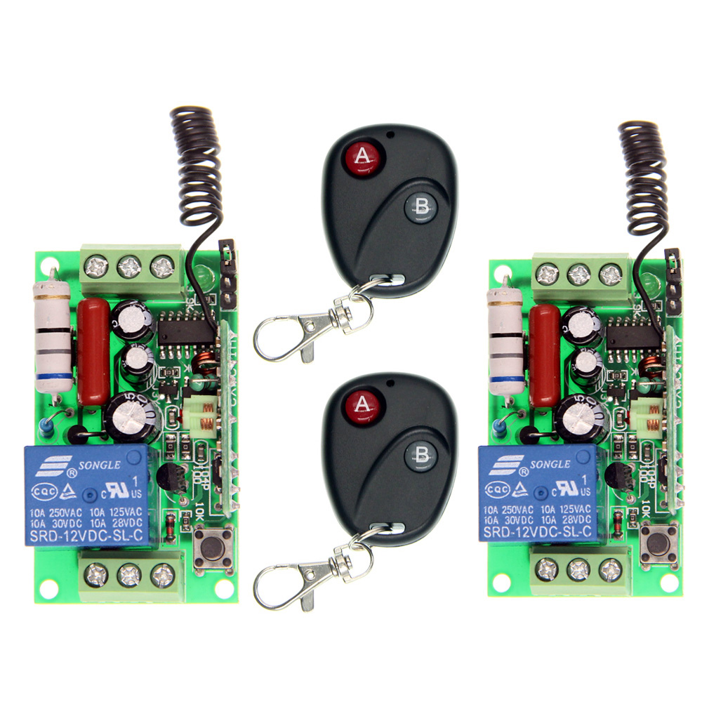 AC 220V 110V 1 CH 1CH RF Wireless Remote Control Switch System,2X 2CH Transmitter + 2X Receivers,Toggle/Momentary,315/433.92 2 receivers 60 buzzers wireless restaurant buzzer caller table call calling button waiter pager system