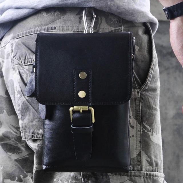 Men's Genuine Leather Crazy Horse Cowhide Fanny Waist Bag Cell/Mobile Phone Case Messenger Shoulder Belt Hip Bum Pack