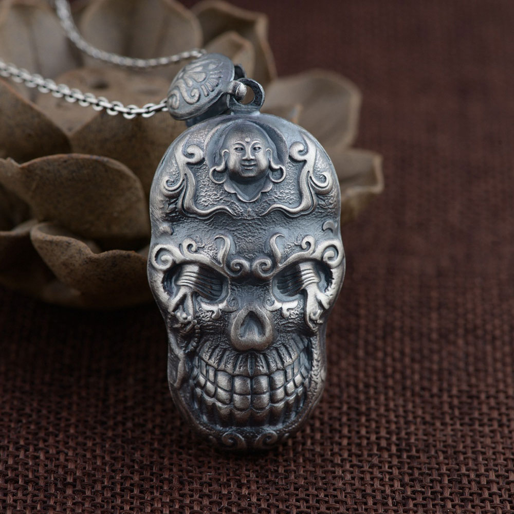 FNJ 925 Silver Buddha Pendant New Fashion Punk Skull 100% Pure S990 Solid Thai Silver Pendants for Women Men Jewelry Making
