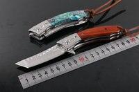 جديد جيب سكين للطي سكين دمشق شفرة الجزئي الصندل أذن البحر مقبض مقبض أدوات التخييم بقاء سكاكين هدية
