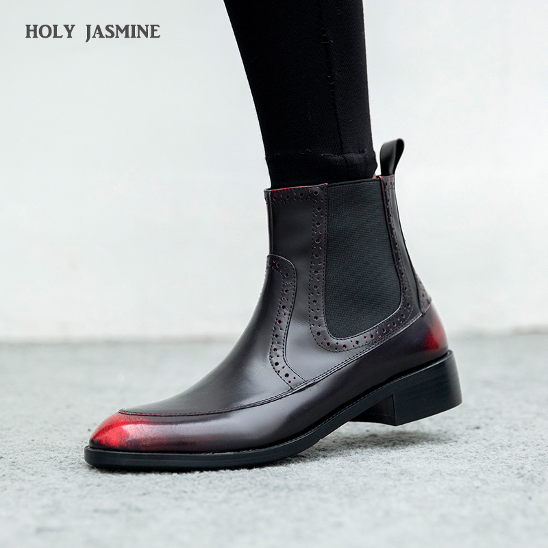 2018 Winter New style genuine leather ankle boots pointed toe thick heel chelsea boots calf leather women boots ladies shoes new arrival genuine leather pointed toe fashion winter boots rivets thick heel slip on chelsea boots handmade ankle boots l93