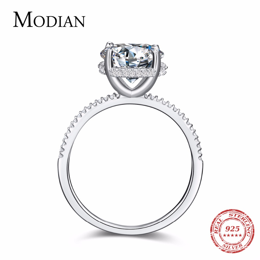 Modian Classic 100% Real 925 Sterling Silver Ten Hearts Zircon Luxury Ring Fashion Wedding Rings Engagement Jewelry For Women