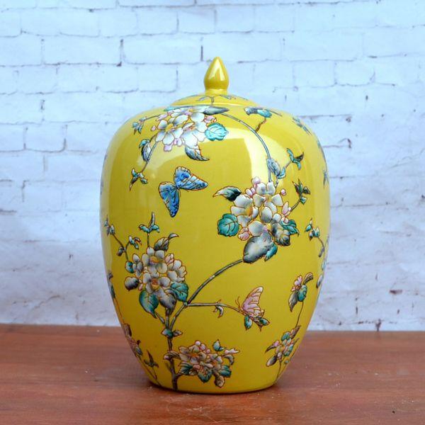 Tao Caicai, el nuevo chino clásico pastel amarillo adornos de cerámica decoración de la olla de porcelana con cubierta modelo de decoración de habitación