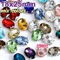 Colores mezclados 18X25mm 12 unids forma Oval Cose en el Rhinestone con la Garra Del Metal Configuración de Strass Coser Perlas para el Vestido de Noche Y1964