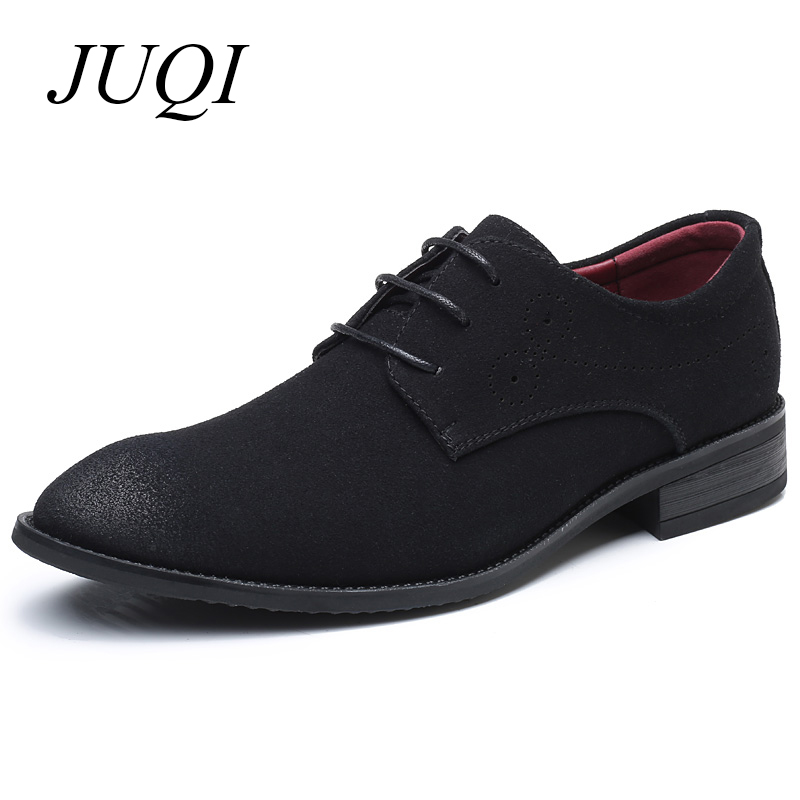 2019 Newest Plus Size 38-48 Men Suede Leather Shoes Fashion Casual Pointed Toe Lace-Up Oxford