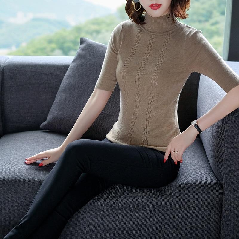Solid turtleneck elastic knit basic sweater shirts 2018 new half sleeve women autumn slim pullovers