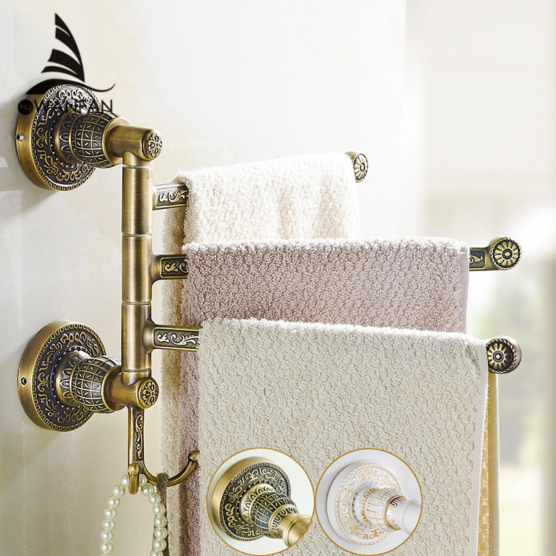 Towel Racks Brass 2-5 Layer Rail 2 Towel Hook Hanger Vintage Luxury Bathroom Accessories Folding Rotation Bath Towel Bar SL-7836