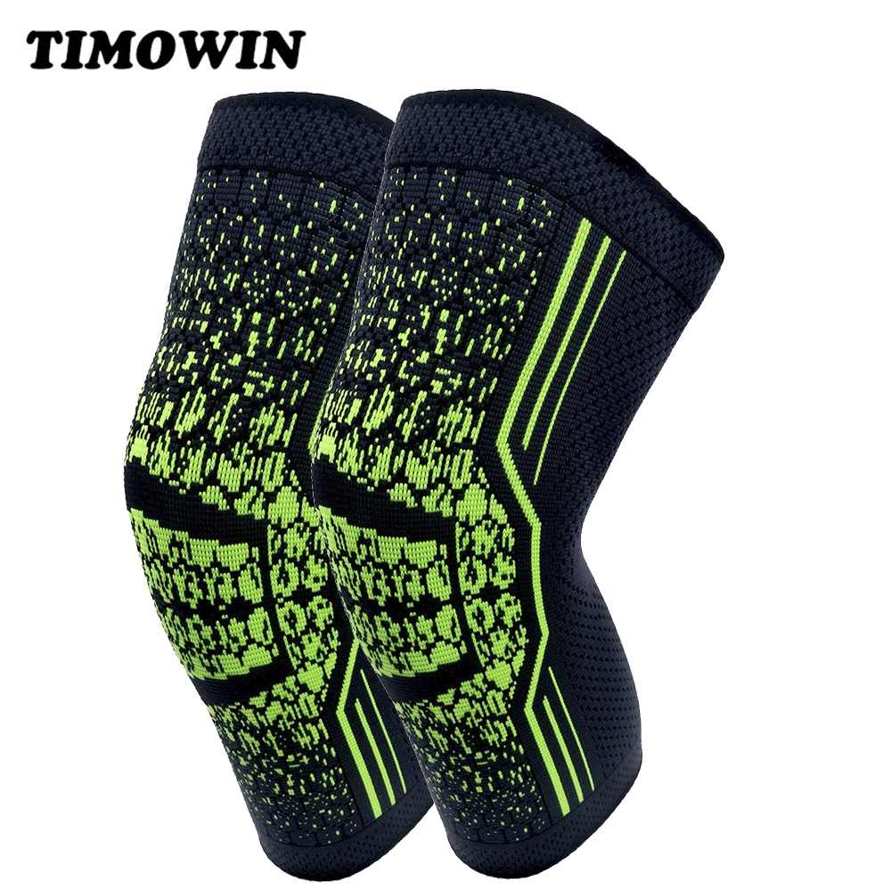 1 Pair Non Slip Silicone Knee Sleeve Support TIMOWIN Knee Pads Warm Kneepad for Running Riding Cycling And Joint Pain Relief