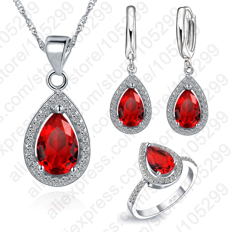 Red Crystal Wedding Jewelry Sets WaterDrop Cubic Zirconia Stone 925 Sterling Silver Earrings Necklaces Finger Rings 6789