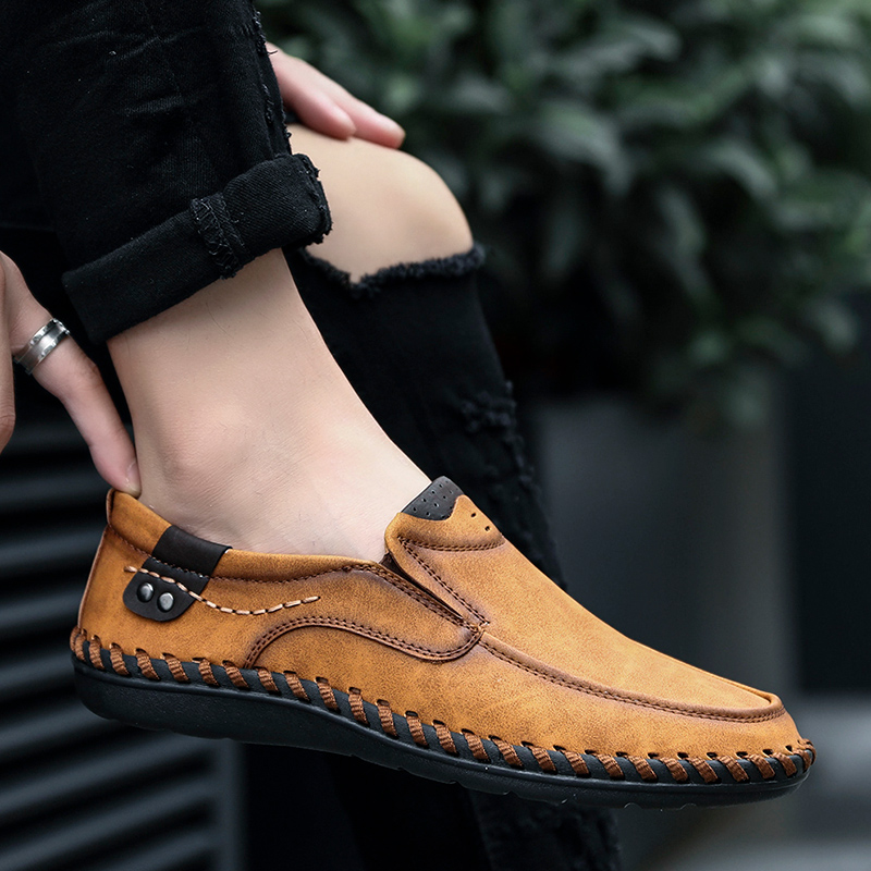 2019 New Comfortable Casual Shoes Loafers Men Shoes Quality Split Leather Shoes Men Flats Hot Sale