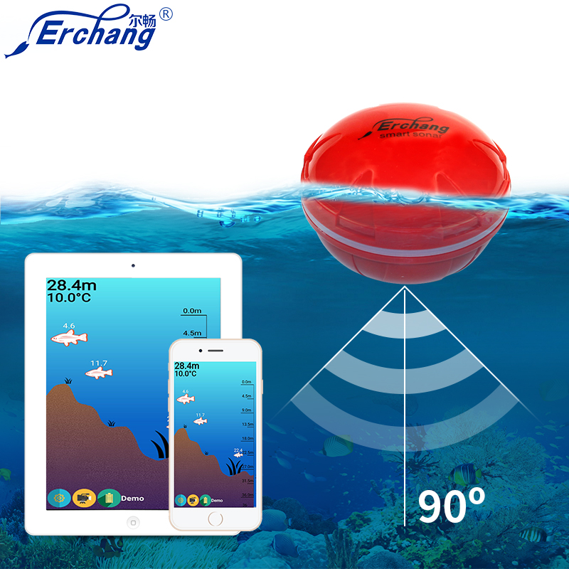 Erchang Smart Portable Fish Finder with Wireless Sonar Sensor for Lake Sea Fishing Sounder Wireless Fishing