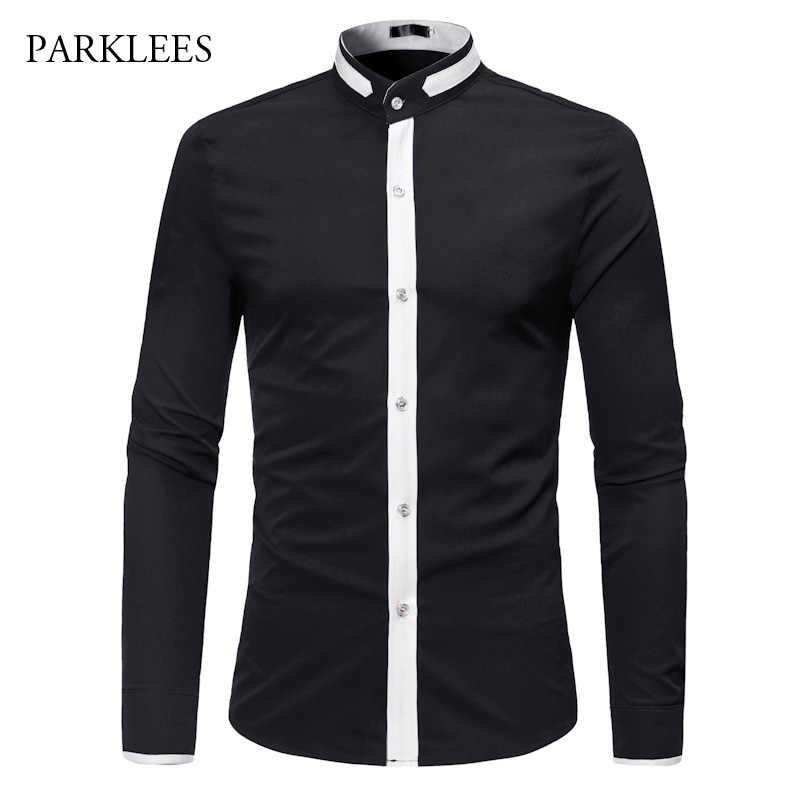 Классический черный белый хит цвет рубашка для мужчин 2018 Мода Стенд воротник Slim Fit с длинным рукавом мужские Рубашки повседневные деловые рубашки