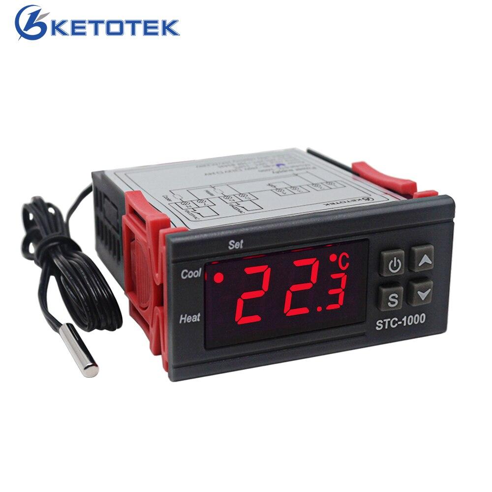 Controlador de temperatura digital termostato termorregulador incubadora relé led 10a aquecimento refrigeração STC-1000 stc 1000 12 v 24 v 220 v