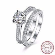 цены Lekani Solid 925 Sterling Silver 2-pcs Wedding Engagement Ring Set 1 Ct Princess Cut Jewelry