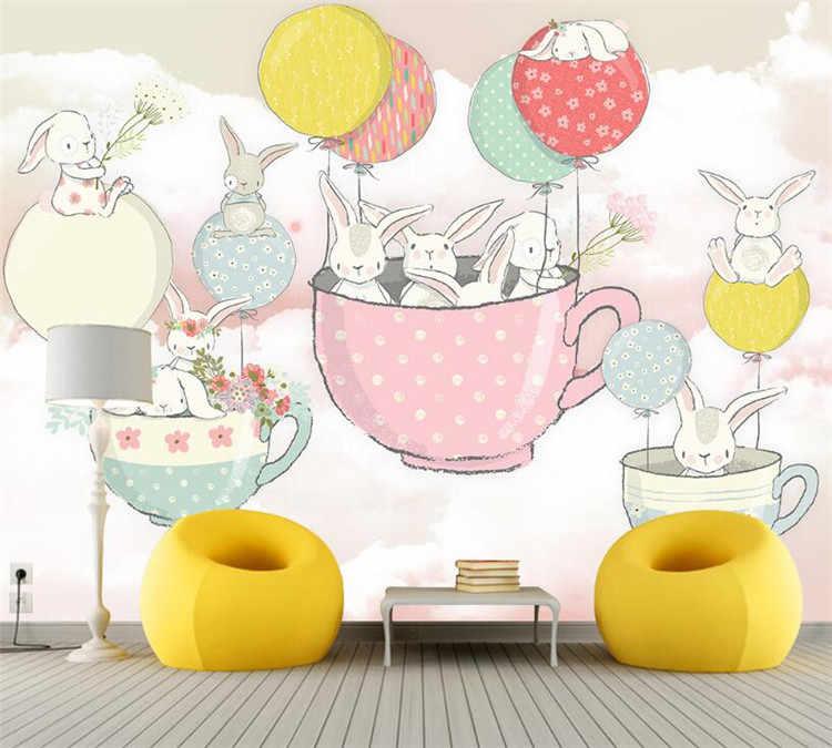 Мультфильм кролик ручная краска воздушный шар чайная чашка детская комната на заказ Фреска ТВ фон настенная бумага мужчины и Девочки Спальня зеленая стена