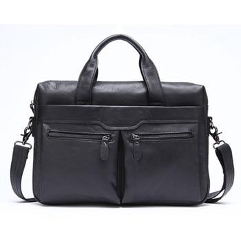 FGGS-Mva Handbag Shoulder Briefcase Leather Business Men'S Bag Leather Shoulder Bag