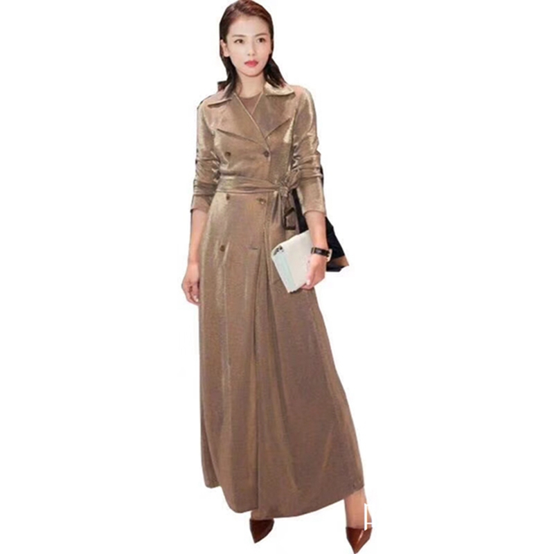 Spring autumn newest women gold Velour long   trench   coats 2019 fashion Streetwear style Double Breasted slim female   trench   gx816