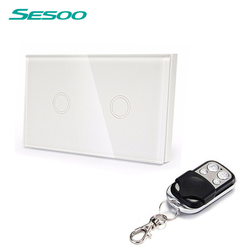 US Standard SESOO Remote Control Switch 2 Gang 1 Way ,RF433 Smart Wall Switch, Wireless remote control touch light switch smart home us black 1 gang touch switch screen wireless remote control wall light touch switch control with crystal glass panel