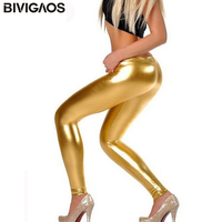 2014 New Fashion Gothic Punk Rock Style Gold Metallic Color Sexy Bright Sequin PU Faux Leather