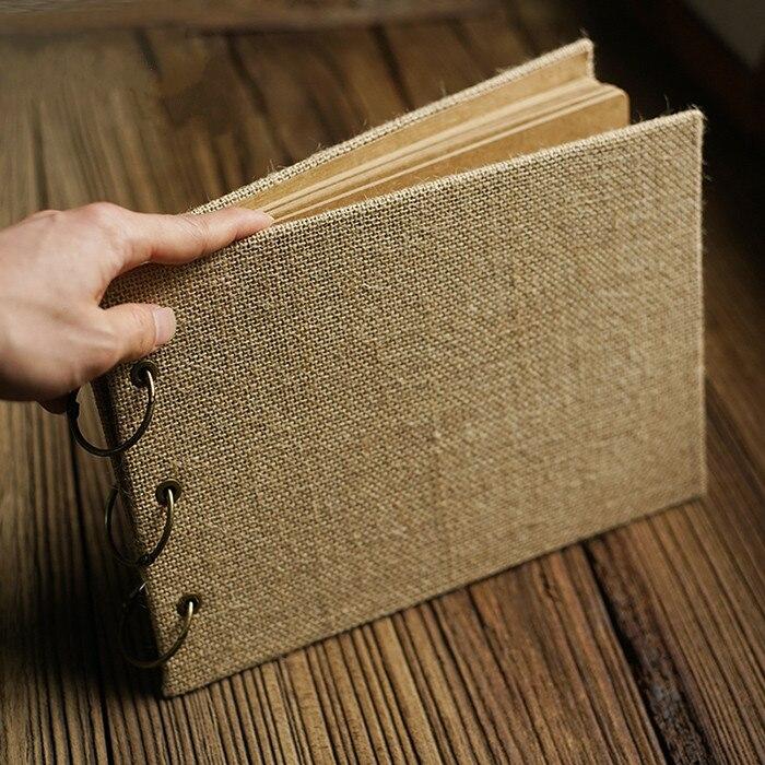 Rectangulaire rétro toile de jute bricolage à la main Scrapbook Album multifonction café Menu recettes notre aventure histoire Scrapbook mariage