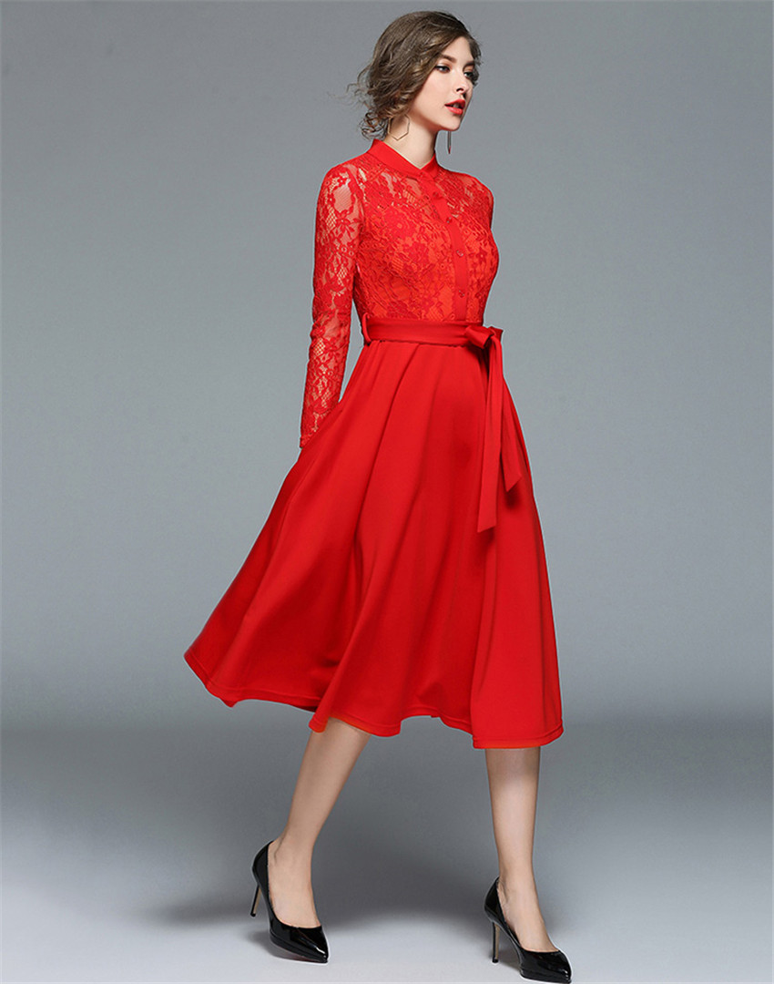 fb1cab157a4 European Fashion Runway Dresses 2018 Women Hollow Out Red Black Lace ...