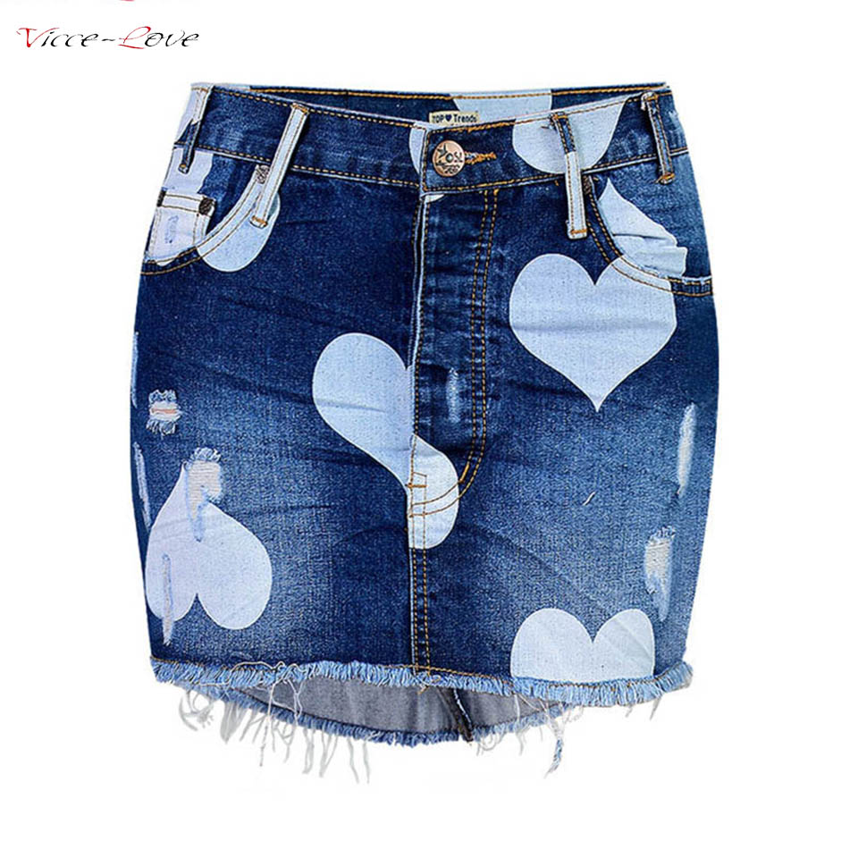 Blue Denim Hold Tassel Skirts Women Cloth Slim Short Skirts Pattern Printed Denim Skirts Ladys Jazz Pure Cotton Mini Skirts