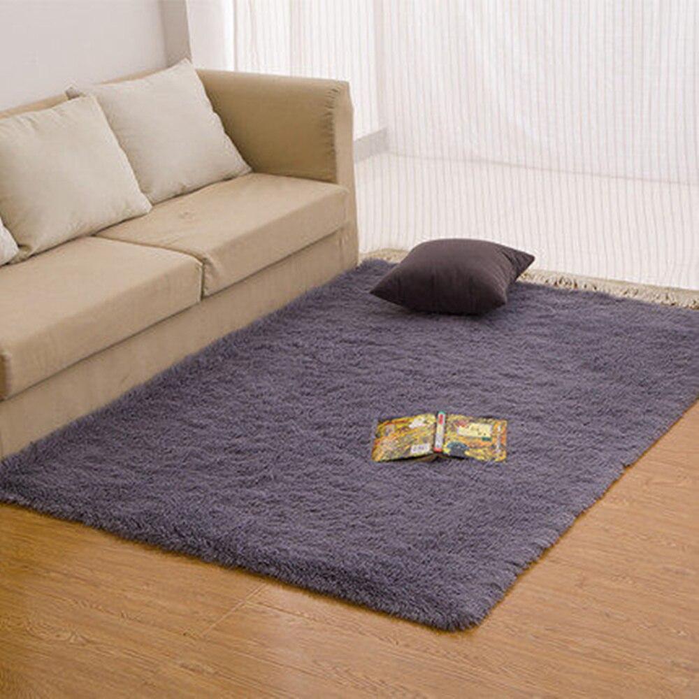 Adasmile Super Soft Long Plush Silky Mat Carpet Solid Door Area Rug Bedroom Living Room Window Bedside