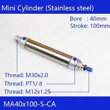 Gratis Pengiriman Pneumatik Stainless Air Cylinder 40 Mm Bor 100 Mm Stroke MA40X100-S-CA 40*100 Double Action Mini Bulat silinder