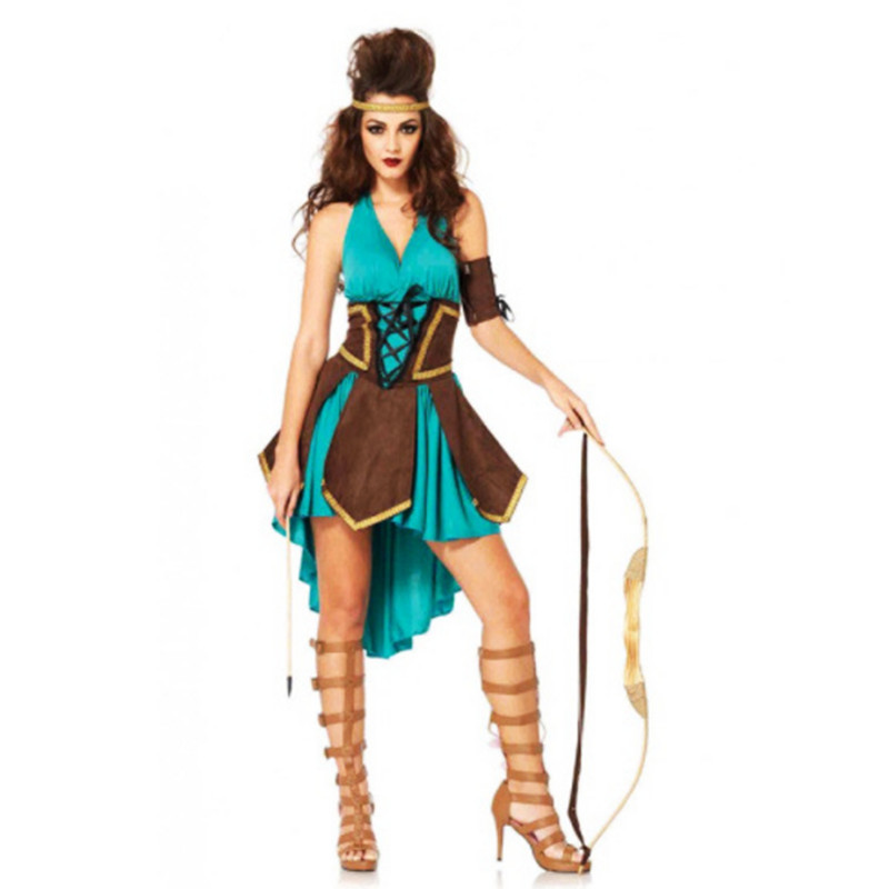Sexy Women Robin Hood costumes Cupid goddess green savage hero role-playing Cleopatral cosplay dress halloween costume for women