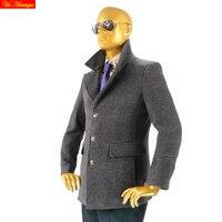 Шерстяное пальто мужские шерстяное пальто зимняя куртка густая шерсть смесь Короткое Пальто Дизайнерские Пальто manteau Hiver Homme темно-серый че...