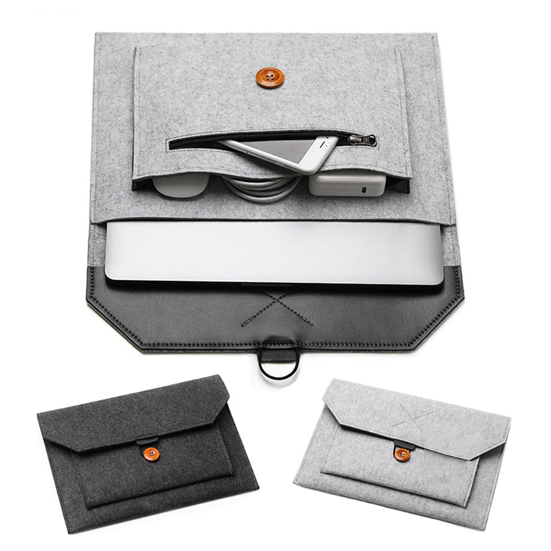 New Wool Felt Sleeve Laptop Bag 14.1 15.6 Case For Macbook Xiaomi Air 13 Pro Retina 11 12 13.3 15 Cover Bags For Women Men 2018