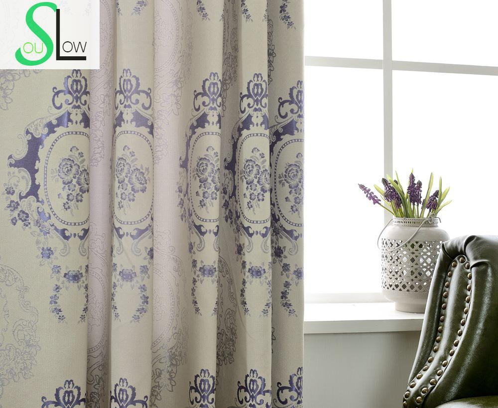 Jacquard shade curtains french window floral blackout for Cortinas black out