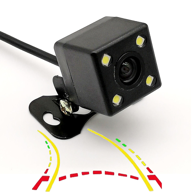 HD CCD 170D Intelligent Dynamic Trajectory Tracks With 4LED Night Vision Parking Line Universal Car Rear View Parking Camera