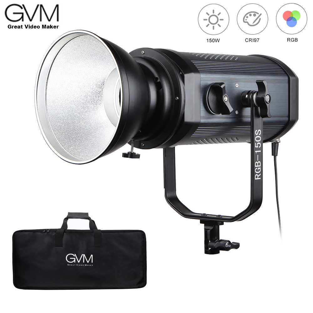 GVM RGB-150S COB RGB Full Color LED Video Light CRI 95+ TLCI 95+ Bi-color 2000K-5600K Dimmable For Photography Video Studio DSLR
