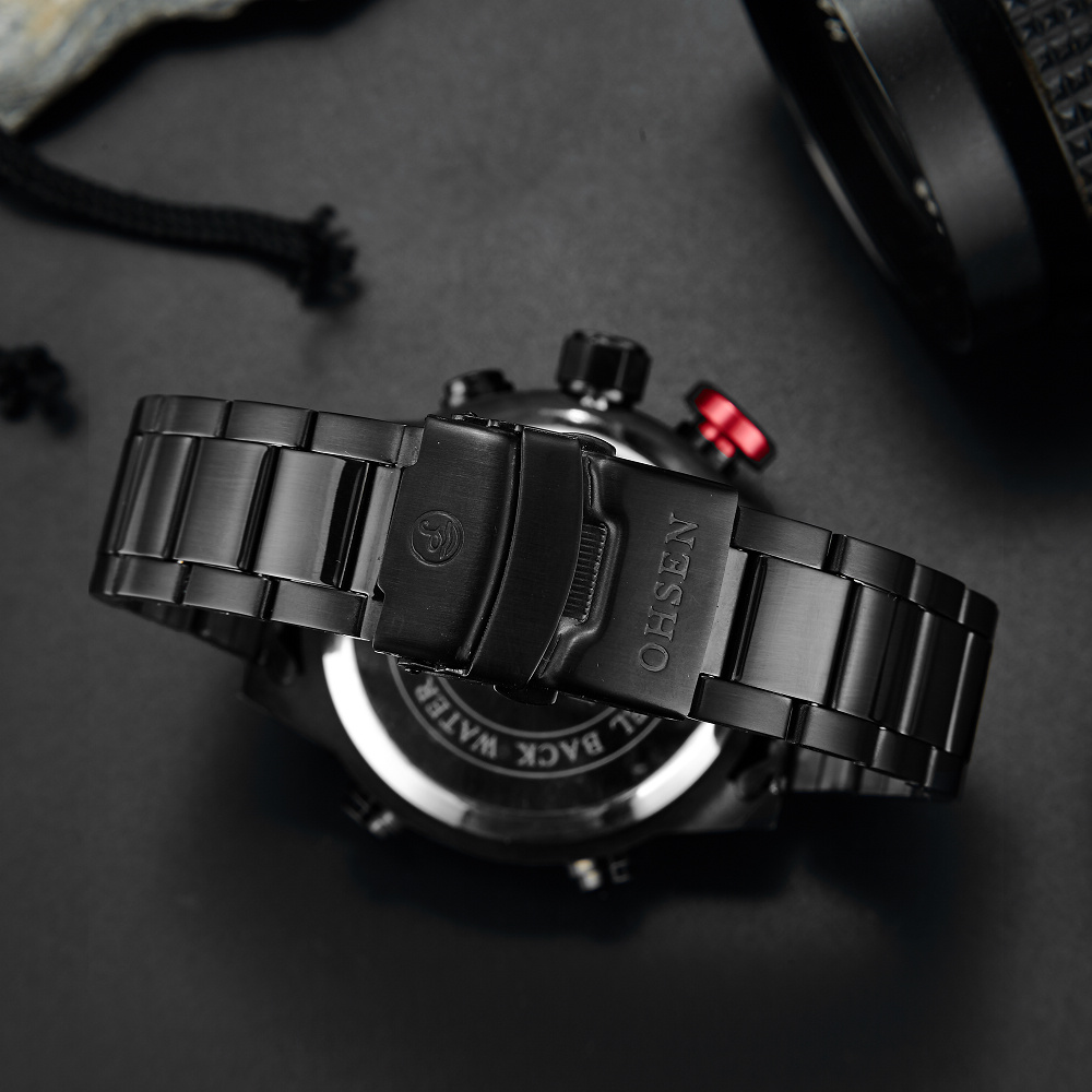 Top Brand OHSEN Volledige Staal Band Analoge LED Digitale Horloge - Herenhorloges - Foto 4