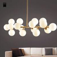 Gold Black Glass Globe Shade DNA Chandelier Light Fixture Modern Nordic Hanging Lamp Lustre Avize Luminaria Dining Table Room