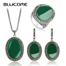 Blucome Turkish Jewelry Sets For Women s Dress Vintage Princess Hooks Red Necklace Earrings Ring Set
