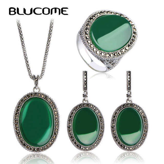 Blucome Turkish Jewelry Sets For Women's Dress Vintage Princess Hooks Red Necklace Earrings Ring Set Retro Colar Pendientes Anel